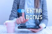 Text Sign Showing Extra Bonus. Conceptual Photo An Extra Amount Of Money That Is Added To Someone S  poster