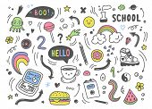 Set Of Colorful Hand Drawn Doodle Elements, Arrows, Stars, Symbols, Office Or School Objects And Sta poster