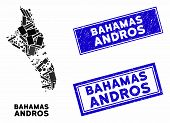 Mosaic Andros Island Of Bahamas Map And Rectangle Stamps. Flat Vector Andros Island Of Bahamas Map M poster