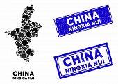 Mosaic Ningxia Hui Region Map And Rectangular Seal Stamps. Flat Vector Ningxia Hui Region Map Mosaic poster