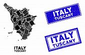 Mosaic Tuscany Region Map And Rectangular Seal Stamps. Flat Vector Tuscany Region Map Mosaic Of Scat poster