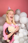 Birthday Party Celebration. Winking Girl In Birthday Cap With Air Balloons Holds Teddy Bear And Plas poster