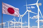 Japan Alternative Energy, Wind Energy Industrial Concept With Windmills And Flag - Alternative Renew poster