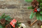 Holiday Christmas Wood Wallpaper With Gift Box. Christmas Card In Top View Flat Lay With Festive Dec poster