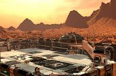 Mars Colony. Expedition On Alien Planet. Life On Mars. 3d Illustration. poster