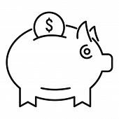 Money Piggy Bank Icon. Outline Money Piggy Bank Vector Icon For Web Design Isolated On White Backgro poster