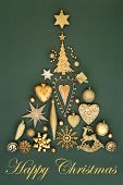 Happy Christmas tree decoration with gold baubles, ornaments and symbols on mottled green background poster