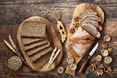 Healthy wholegrain sliced loaf with walnut & fig rye bread. High in vitamins, antioxidants and omega poster