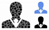 Manager Mosaic Of Round Dots In Variable Sizes And Color Tones, Based On Manager Icon. Vector Round  poster