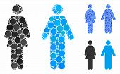 Wc Persons Mosaic Of Round Dots In Variable Sizes And Shades, Based On Wc Persons Icon. Vector Round poster