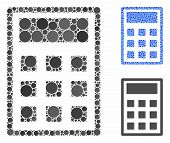 Calculator Mosaic Of Filled Circles In Different Sizes And Color Hues, Based On Calculator Icon. Vec poster