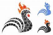 Rooster Mosaic Of Round Dots In Various Sizes And Shades, Based On Rooster Icon. Vector Round Dots A poster