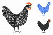 Chicken Mosaic Of Round Dots In Different Sizes And Color Tints, Based On Chicken Icon. Vector Round poster