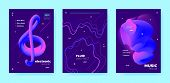 House Music Poster. Abstract Gradient Shape. Disco 3d Banner. Blue Fluid Shape. Pink Dance Music Pos poster
