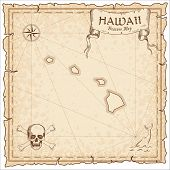 Hawaii Pirate Map. Ancient Style Map Template. Old Us State Borders. Vector Illustration. poster