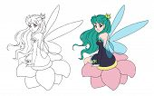 Illustration Of A Beautiful Fairy Sitting On The Flower. Hand Drawn Vector Anime Illustration. Isola poster