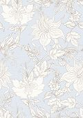 Fantasy Flowers In Retro, Vintage, Jacobean Embroidery Style. Seamless Pattern, Background. Outline  poster