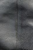 Old Abstract Genuine Black Leather Texture Background With Stitch. Close Up View With Copy Space poster