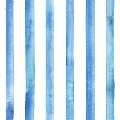 Watercolor Stripe Plaid Seamless Pattern. Color Teal Blue Stripes Background. Watercolour Hand Drawn poster