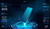 Smartphone Futuristic Mockup, Hologram With Mobile Phone. Hud Interface, Ui,ux,kit Presentation Bann poster