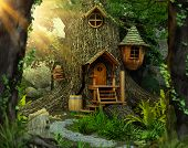 Deep In A Distant, Hidden, Mysterious Forest Sits An Enchanting Fairy Tree Home Inside An Old White  poster