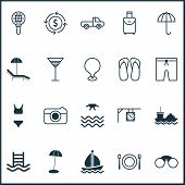 Tourism Icons Set With Parasol, Sea, Tanker And Other Gingham Elements. Isolated Vector Illustration poster