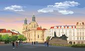 Colorful Vector Illustration. Cityscape Of St. Nicholas Church And Jan Hus Memorial.  Landmark Of Pr poster