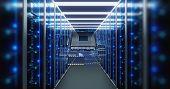 3d Illustration Of Server Room In Data Center Full Of Telecommunication Equipment,concept Of Big Dat poster