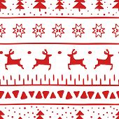Simple Christmas Pattern With Reindeer, Christmas Trees, Stripes, Triangles And Christmas Stars. Pat poster