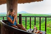 Happy Family Travel, Explore Rainforest Near Pemuteran. Young Woman Drink Morning Coffee And Relax O poster