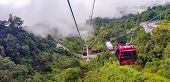 Cable Car At Genting Highlands, Malaysia In A Foggy Weather With Green Grass Visible From Inside Cab poster