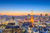 Tokyo, Japan downtown cityscape in the Minato Ward at dusk with the tower and Mt. Fuji in the distan poster