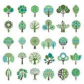 Logo Tree. Eco Nature Wood Trees Stylized Emblems Or Badges Vector Collection. Illustration Stylized poster