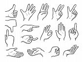 Hands Doodles. Expression Gestures Human Hands Pointing Shaking Vector Hand Drawn Style. Human Gestu poster