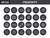 Set Of Creativity And Idea Web Icons In Line Style. Creativity, Finding Solution, Brainstorming, Cre poster