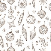 Christmas Balls Seamless Pattern. Xmas Tree Decorations And Snowflakes. Winter Holidays, New Year Ve poster