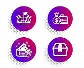 Salary, Arena And Cream Icons Simple Set. Halftone Dots Button. Package Box Sign. Diplomat With Mone poster