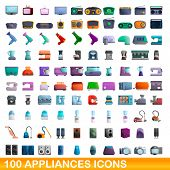 100 Appliances Icons Set. Cartoon Illustration Of 100 Appliances Icons Vector Set Isolated On White  poster