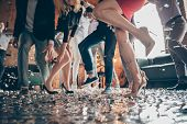 Low Angle View Cropped Close-up Photo Of Legs Girls Guys Meeting Rejoicing Dance Floor X-mas Party G poster