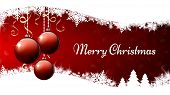 Merry Christmas Banner. Three Red Christmas Ornament Balls On Red And White Background. Vector Illus poster