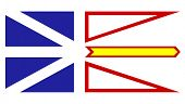 Illustration of Canadian state of Newfoundland and Labrador state flag, white background.