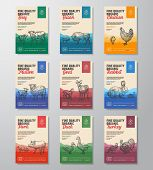 Fine Quality Organic Vector Meat Packaging Vertical Label Design Collection. Modern Typography And H poster