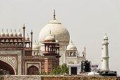 Taj Mahal In Agra, India. Mogul Marble Mausoleum With Minarets, Mosque And Famous 17th Century Symme poster