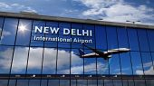 Jet Aircraft Landing At New Delhi, India 3d Rendering Illustration. Arrival In The City With The Gla poster