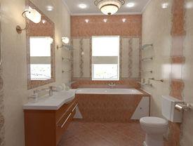 stock photo of console-mirror  - interior of bath - JPG