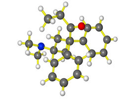 foto of methadone  - A ball and stick molecular model of methadone - JPG