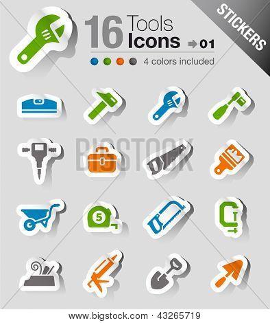 Постер, плакат: Наклейки инструменты и строительство иконок, холст на подрамнике