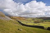 View From Norber Erratics Down Wharfe Dale In Yorkshire Dales National Park
