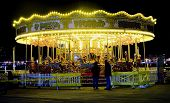 picture of amusement park rides  - merrygoround at night - JPG