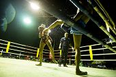 CHANG, THAILAND - FEB 22: Unidentified Muay Thai fighters compete in an amateur kickboxing match, Fe
